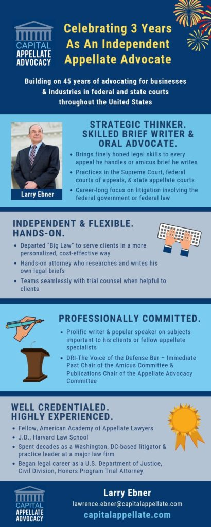 Larry Ebner 3rd Anniversary Infographic for Capital Appellate Advocacy